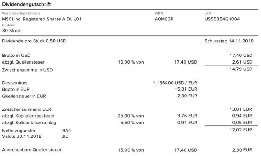 Originalabrechnung der MSCI-Dividendenzahlung im November 2018