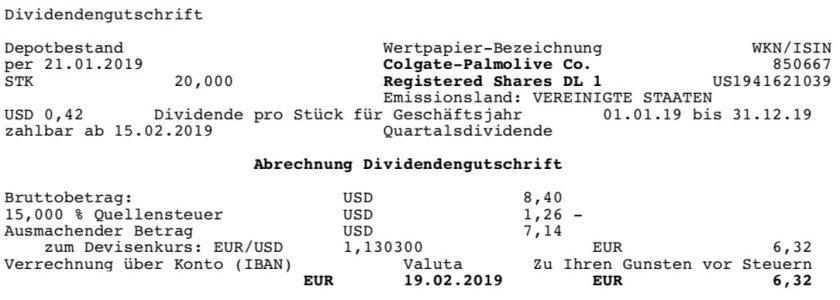 Die Originalabrechnung der Colgate Palmolive-Dividende im Februar 2019