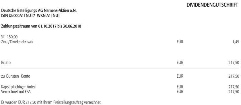 Die Originalabrechnung der DBAG-Dividende im Februar 2019