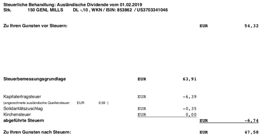 Die Originalabrechnung der Steuer der GIS-Dividende im Februar 2019