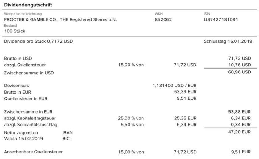 Die Originalabrechnung der PG-Dividende im Februar 2019