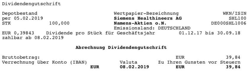 Die Orginalabrechnung der Siemens Healthineers Dividende im Februar 2019 Teil 1