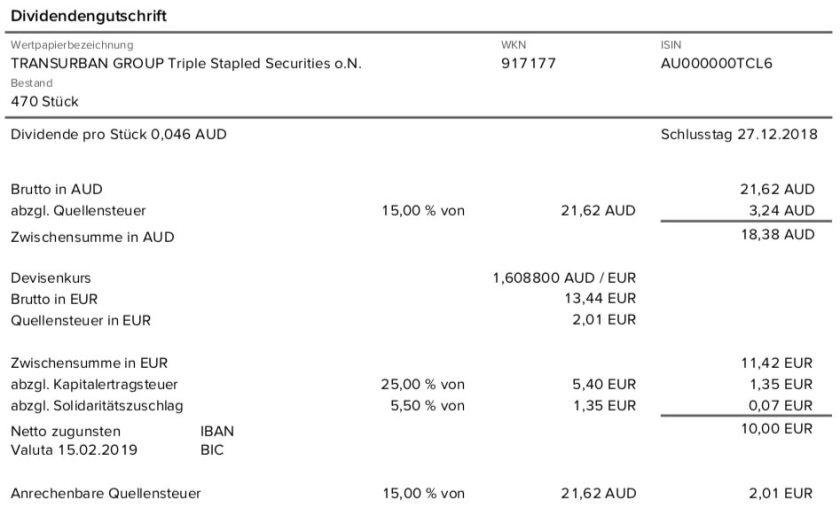Die Originalabrechnung der Transurban Group-Dividende im Februar 2019 15% Quellensteuer