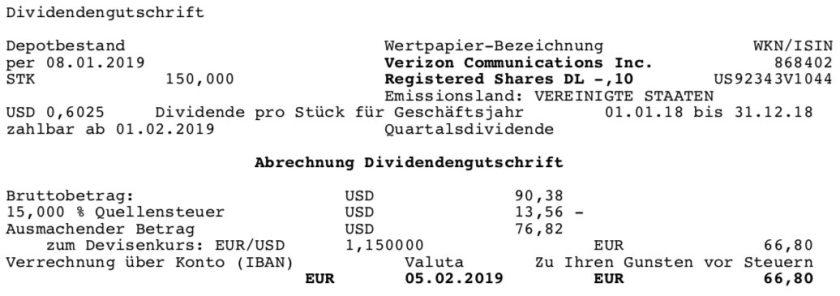Die Originalabrechnung der VZ-Dividende im Februar 2019