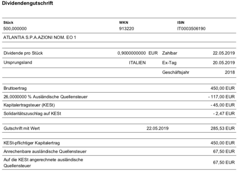 Originalabrechnung Dividende Atlantia im Mai 2019