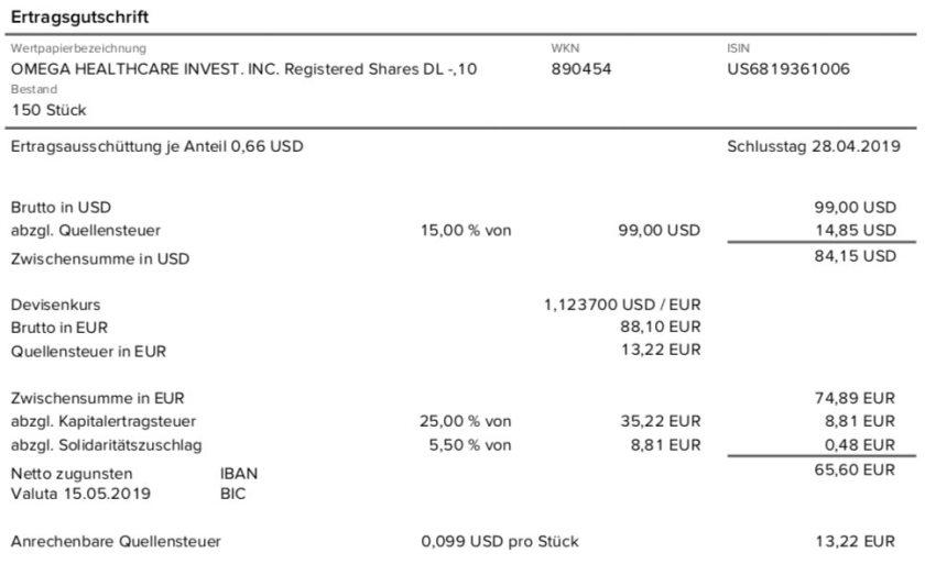 Dividendenabrechnung Omega Healthcare Investors im Mai 2019