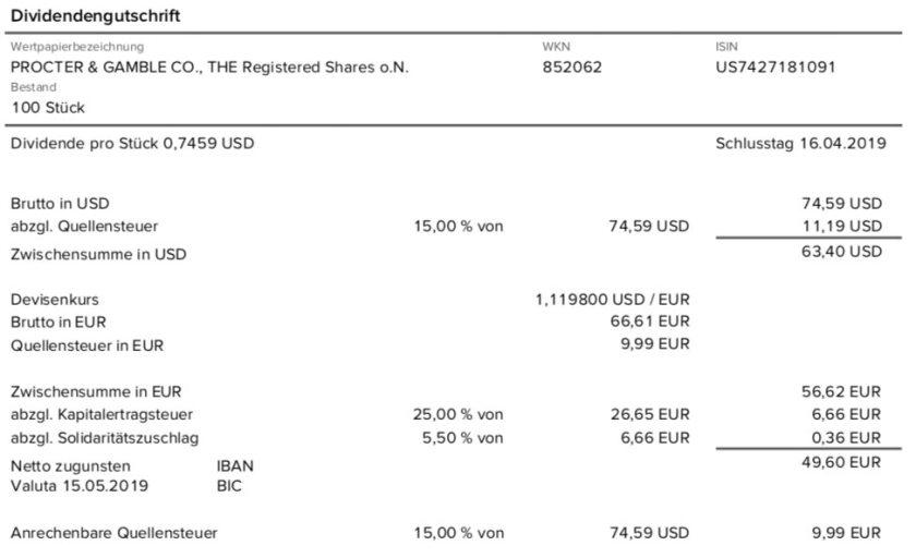 Dividendenabrechnung Procter & Gamble im Mai 2019