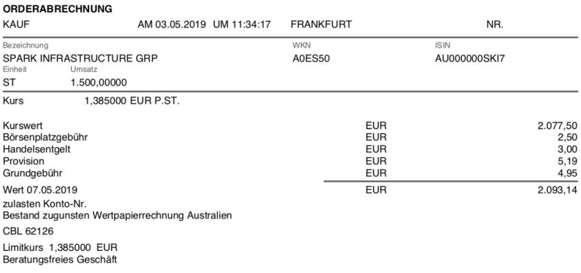 Kaufabrechnung Spark Infrastructure Mai 2019