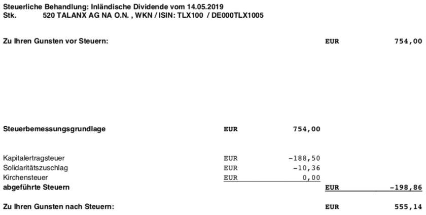 Dividendenabrechnung Steuer Talanx im Mai 2019