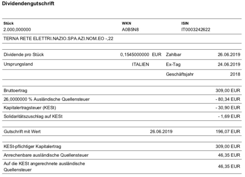 Originaldividendenabrechnung von Terna im Juni 2019