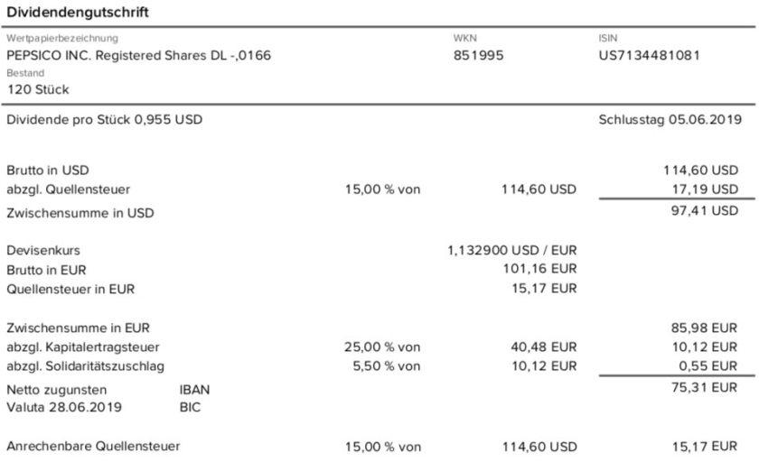 Dividendenabrechnung PepsiCo im Juni 2019