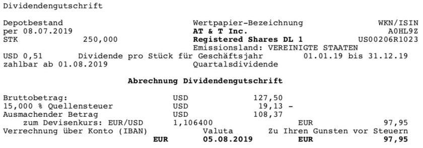 Originaldividendenabrechnung AT&T im August 2019