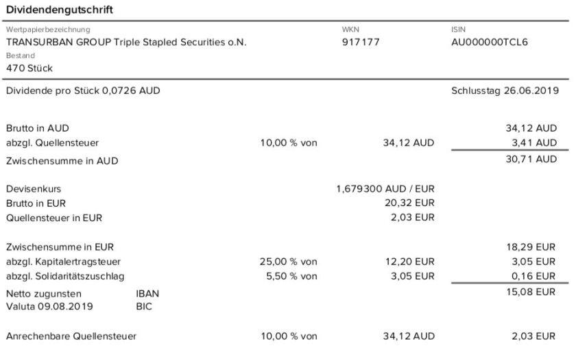 Originalabrechnung Dividendenzahlung Transurban Group Teil 2 im August 2019