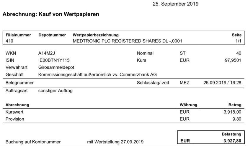 Originalabrechnung Kauf Medtronic im September 2019