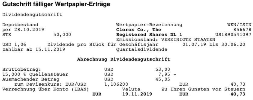 Originalabrechnung Dividende Clorox im November 2019