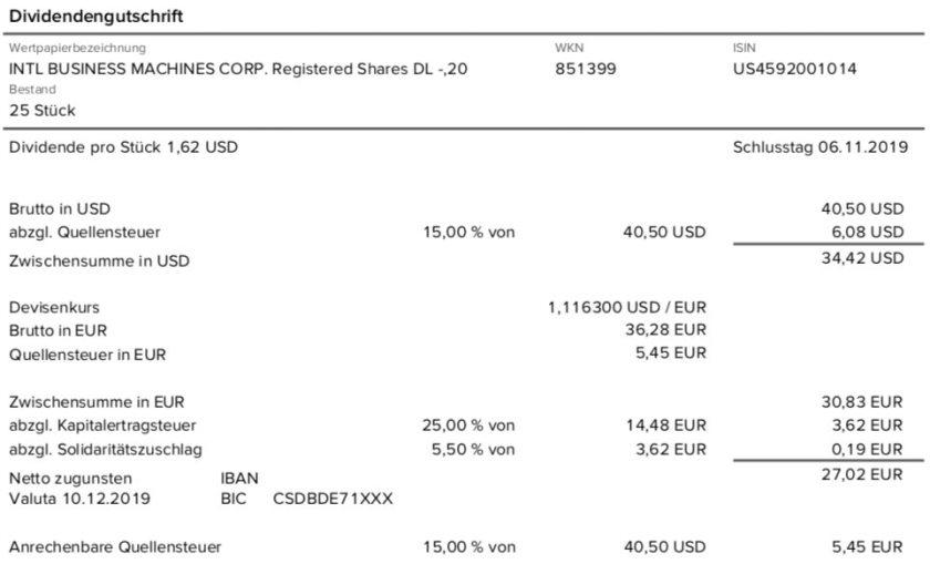Originaldividendenabrechnung IBM im Dezember 2019