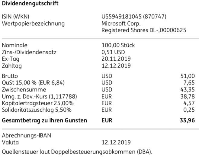 Originaldividendenabrechnung Microsoft im Dezember 2019