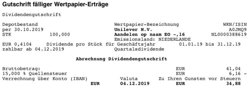 Originaldividendenabrechnung Unilever im Dezember 2019