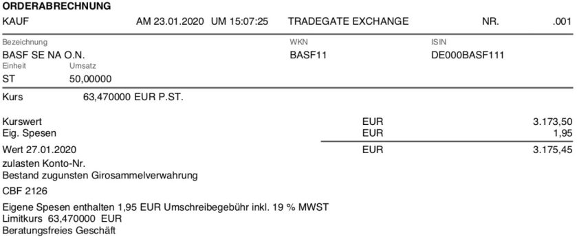 Originalabrechnung Kauf BASF Aktien im Januar 2020