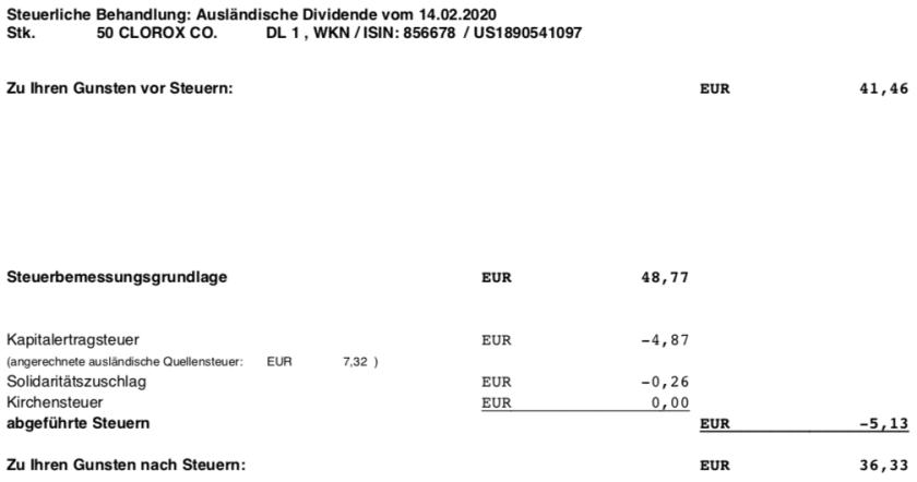 Originaldividendenabrechnung Clorox Steuern im Februar 2020