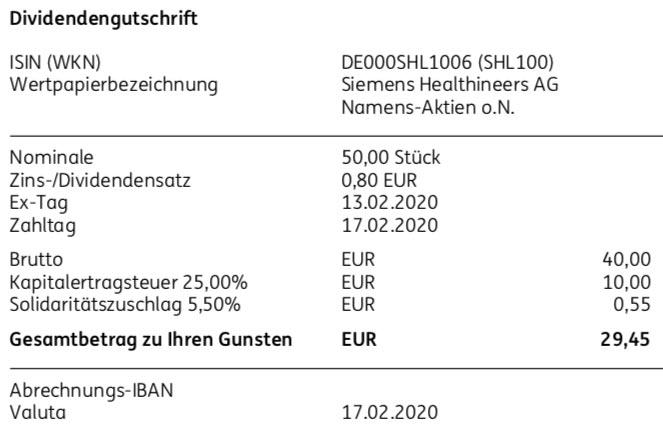 Originaldividendenabrechnung Siemens Healthineers Dividende im Februar 2020 bei der ING