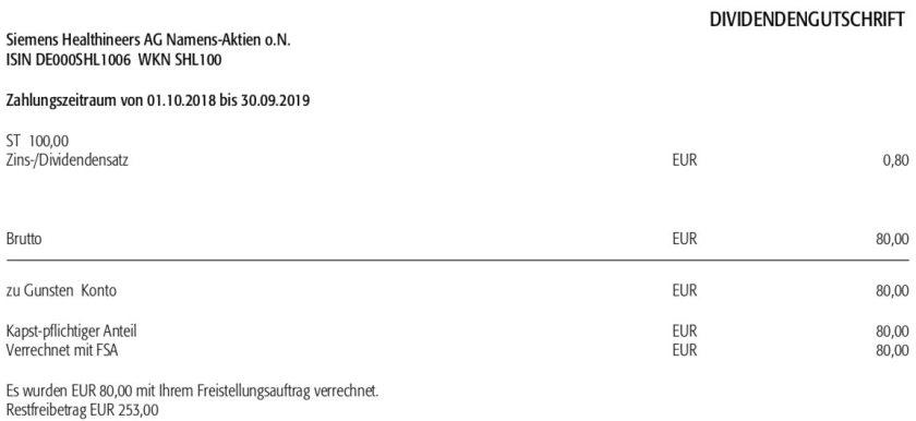 Originaldividendenabrechnung Siemens Healthineers Dividende im Februar 2020 bei der Augsburger Aktienbank