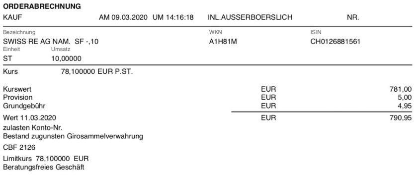 Kaufabrechnung Swiss Re Aktien im März 2020