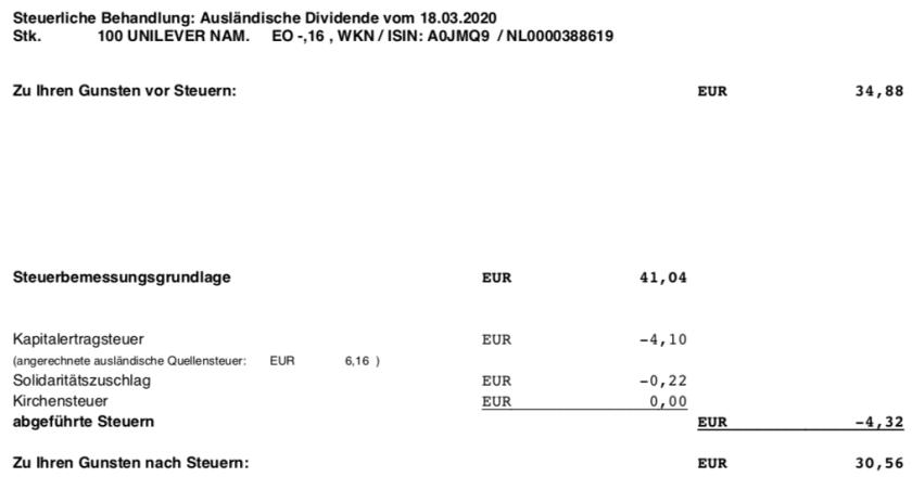 Dividendenabrechnung Unilever Steuern im März 2020