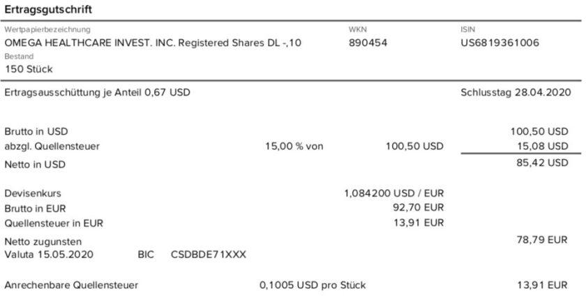 Dividendenabrechnung Omega Healthcare Investors im Mai 2020