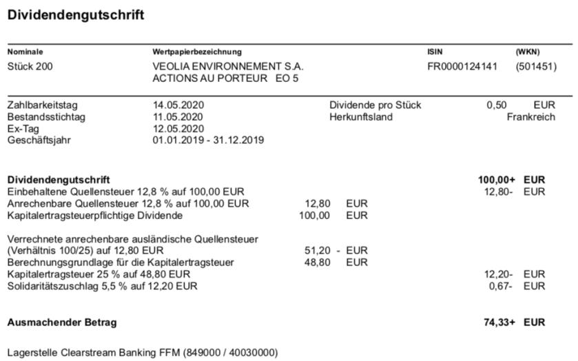Dividendenabrechnung Veolia im Mai 2020
