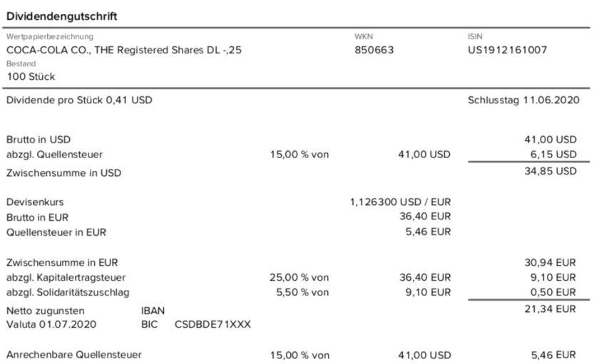 Dividendengutschrift Coca-Cola im Juli 2020 der Consorsbank