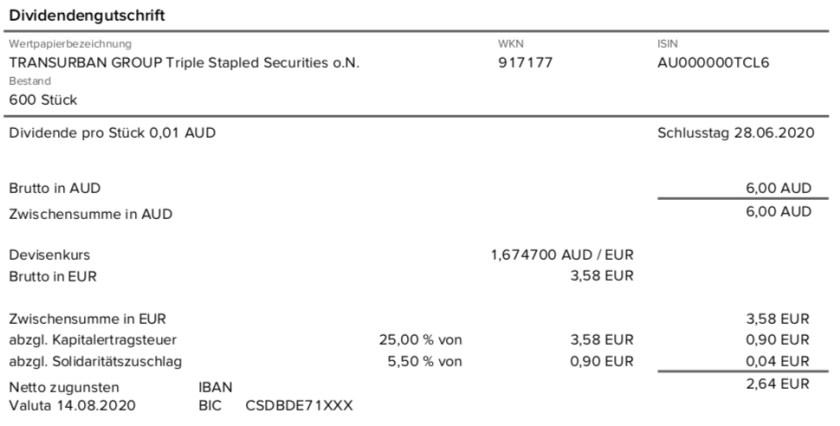 Dividendengutschrift Transurban Group im August 2020 mit 0% Quellensteuer