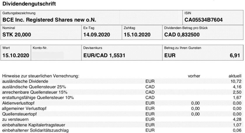 Dividendengutschrift BCE im Oktober 2020