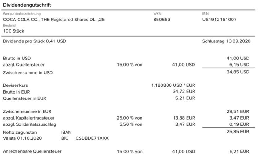 Dividendengutschrift Coca-Cola bei der Consorsbank im Oktober 2020