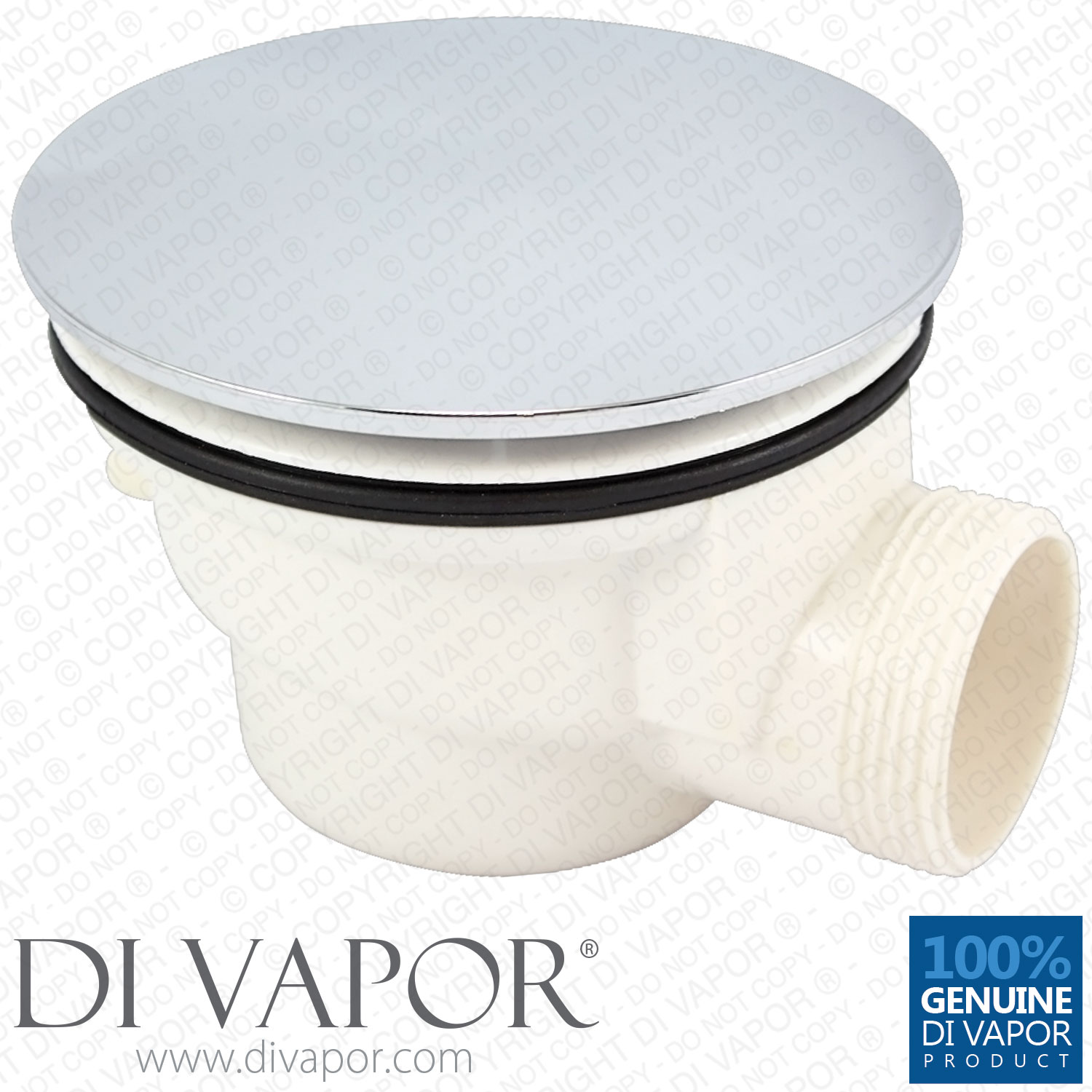 Plastic Shower Waste Drain Trap with Chrome Cover with Steam Pipe Spigot  85mm