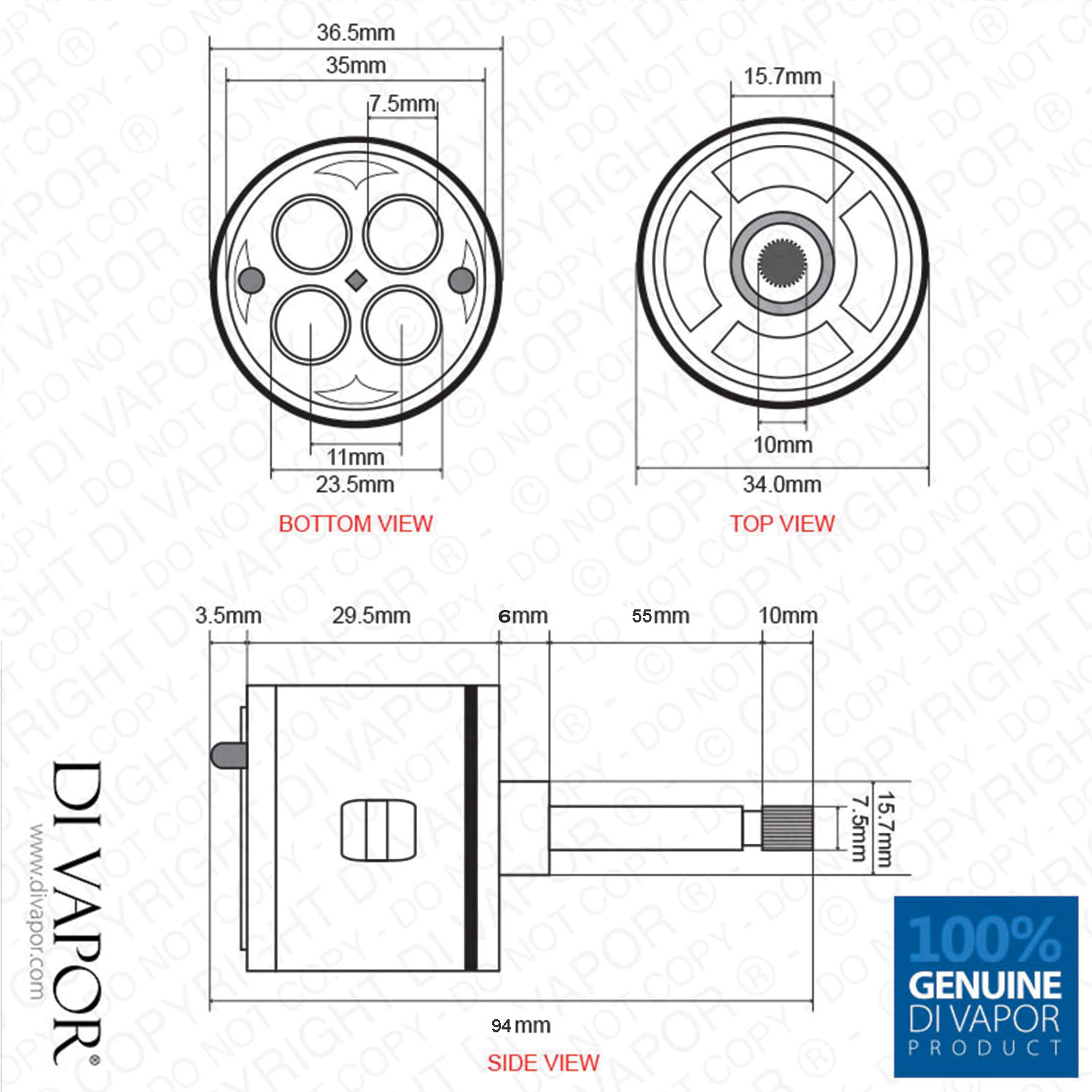 92mm 4 Way Shower Flow Diverter Valve Cartridge