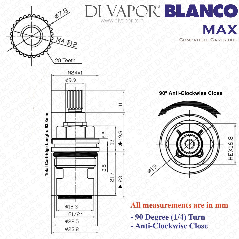Blanco Max BM5400TB-AB Hot Tap Cartridge, 1/2