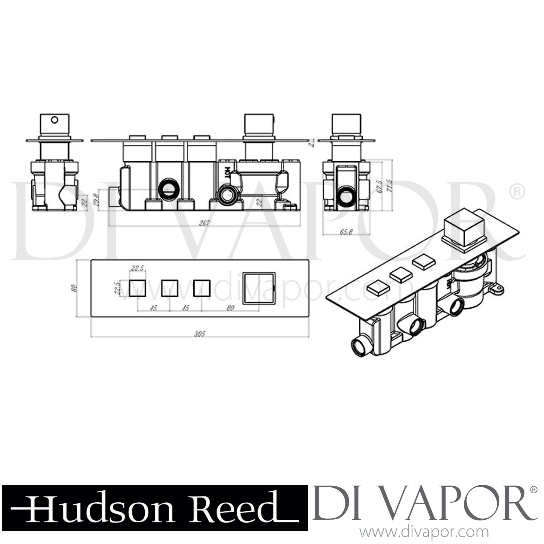 Hudson Reed Ignite Square Slimline Shower Package (3