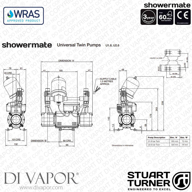 Stuart Turner Showermate Universal 1 8 Bar Twin