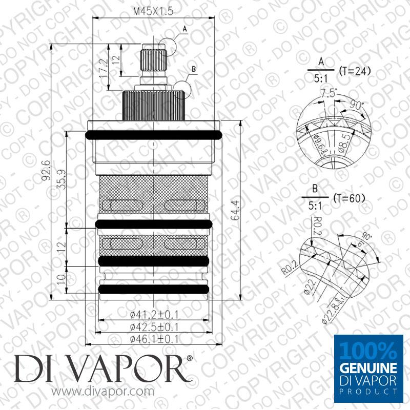 Triton 83312670 Thermostatic Cartridge for Altessa, Eline