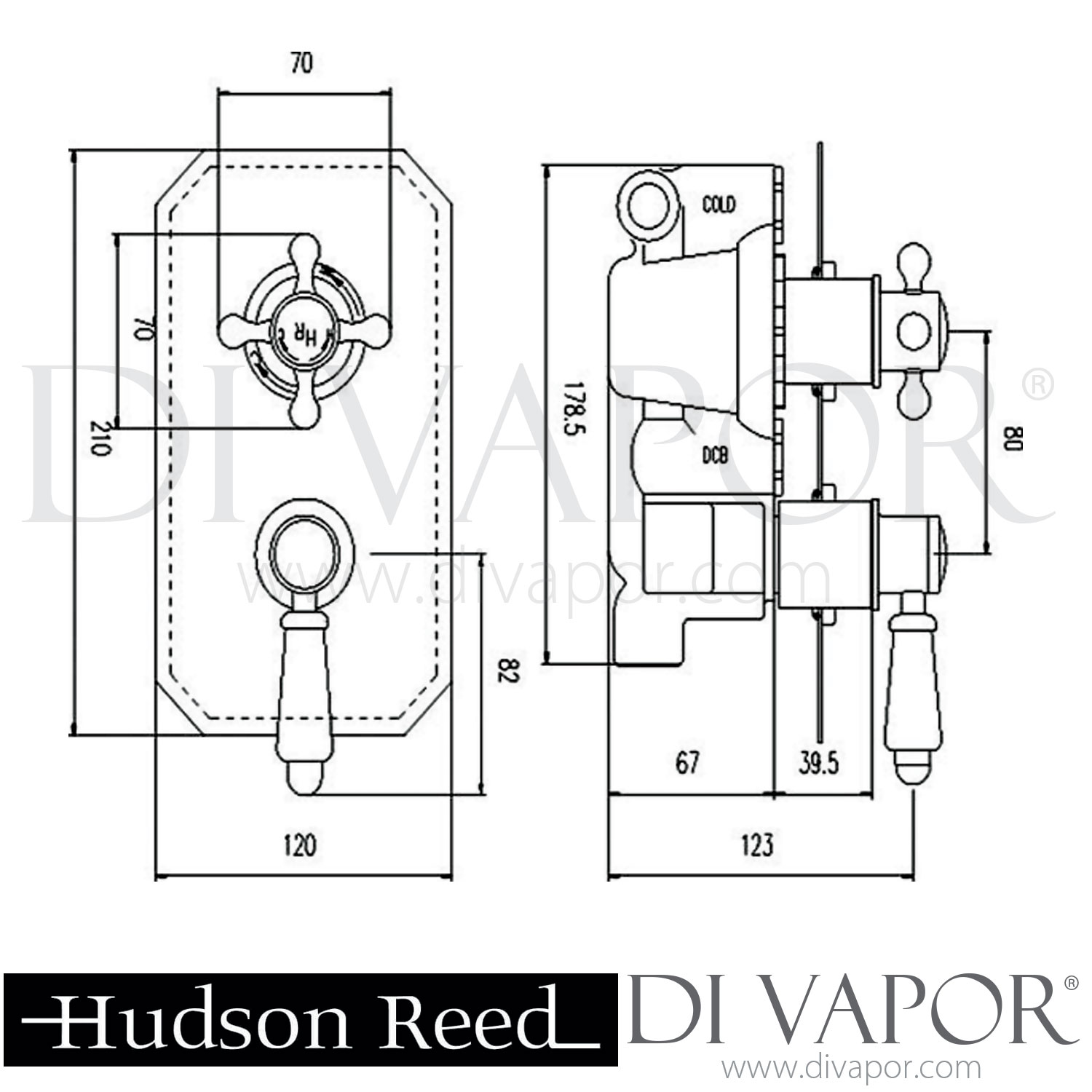 Hudson Reed Topaz Twin Concealed Thermostatic Shower Valve