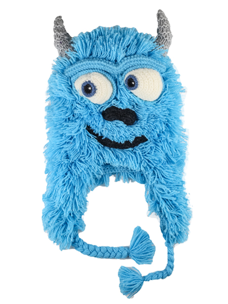 Kids Hairy Monster Hat Turquoise