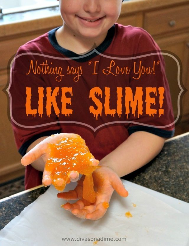 "The easiest recipe for homemade slime and it costs only pennies! Just two ingredients will amuse the kiddies for hours. Non-toxic and safe for toddlers. Nothing says ""I love you"" like slime!"