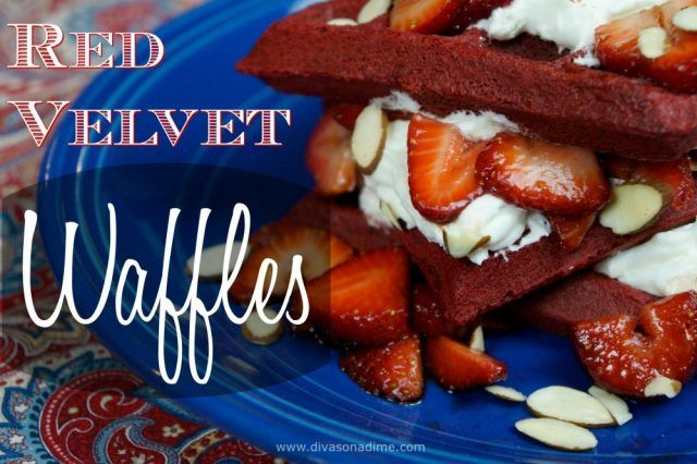 No one will guess you used shortcuts for this budget friendly, decadent treat. Red Velvet waffles with cream cheese mousse and strawberries. Perfect for Valentine's Day breakfast, brunch or dessert.