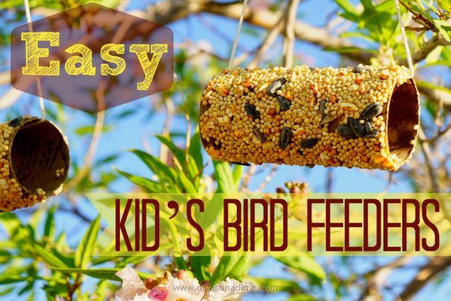 Easy, fun bird feeder craft made from an empty toilet paper roll, peanut butter and bird seed. Great summertime boredom buster.