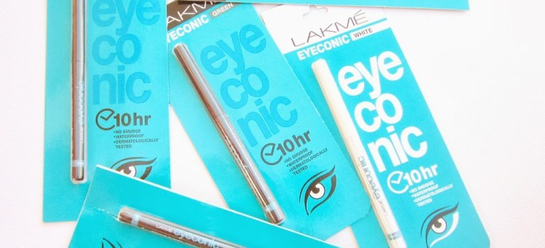 Swatch Attack!: Lakme Eyeconic Kajal in Green, Brown, Blue, White, Grey and Black