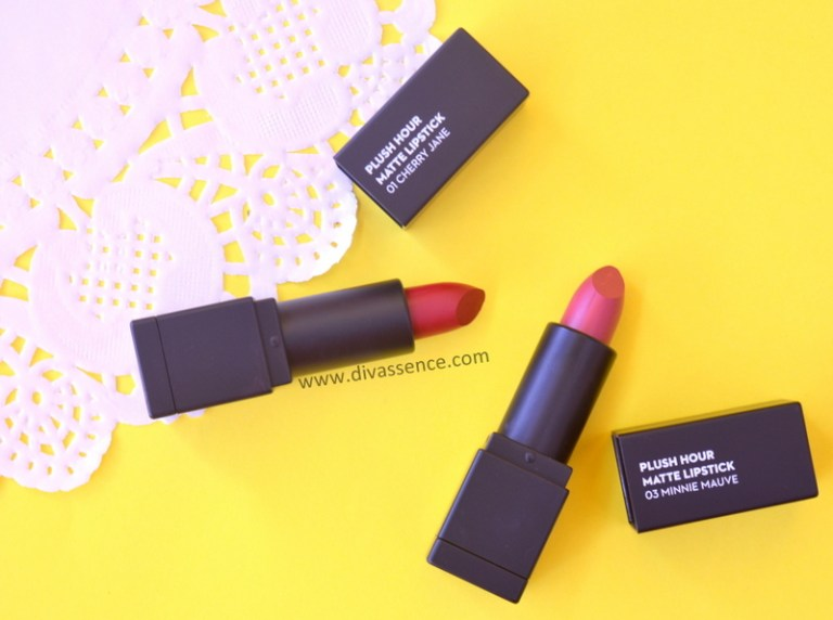 Sugar Cosmetics Plush Hour Matte Lipstick in Cherry Jane and Minnie Mauve Review Swatches where to buy in India