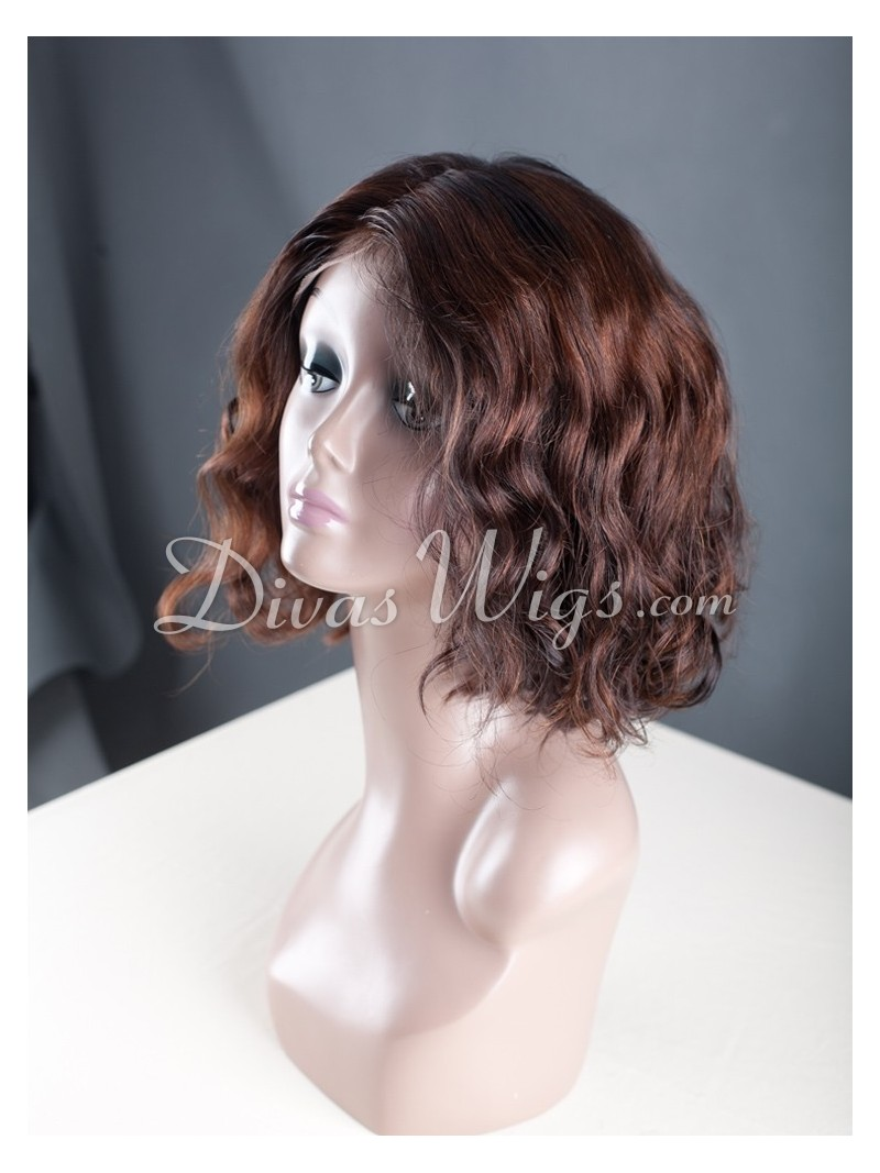 Custom Short Bob Wavy Full Lace WigWST037  Home