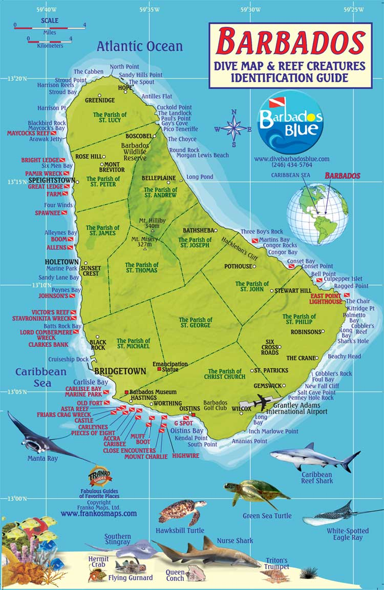Dive Sites Dive Barbados Blue Water Sports