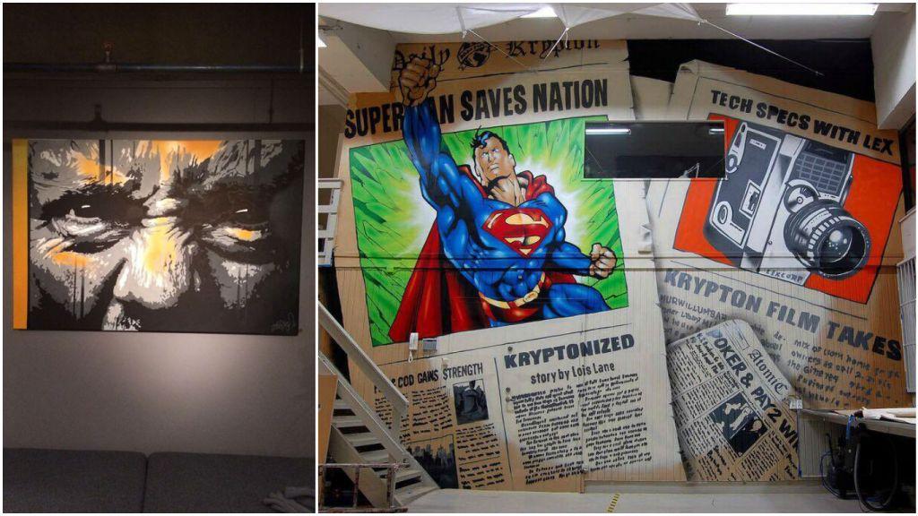 Graffitikunsten til skuespilleren holder høyt nivå. Til høyre en vegg hos Krypton film som han sprayet sammen med graffitiartist Pay2.
